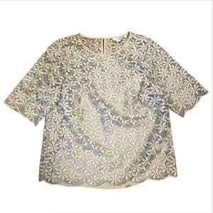 Boden Metallic Gold Floral Organza Embroidered Top